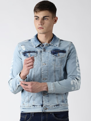 Buy online Blue Washed Printed Denim Jacket from Jackets for Men by Blue Saint for ₹1803 at 5% off | 2020 Limeroad.com