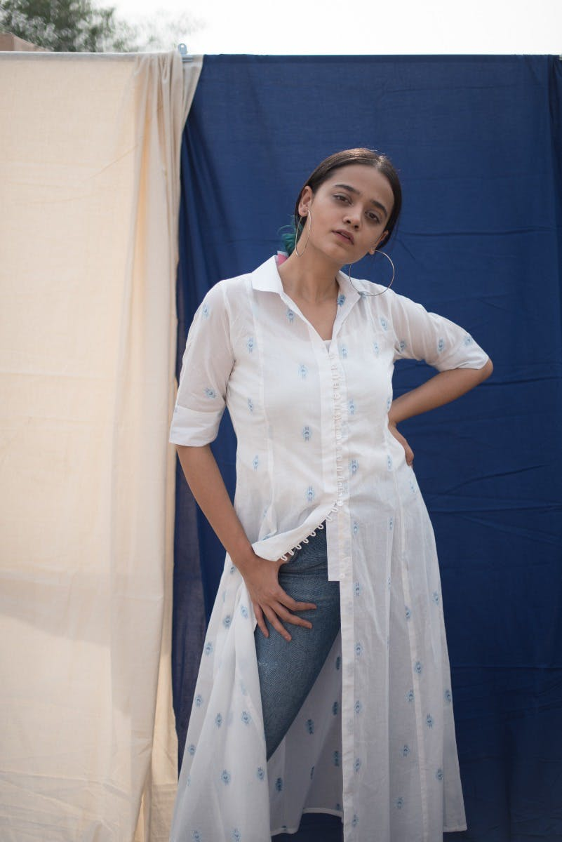 Cotton Dobby Tunic with Pockets