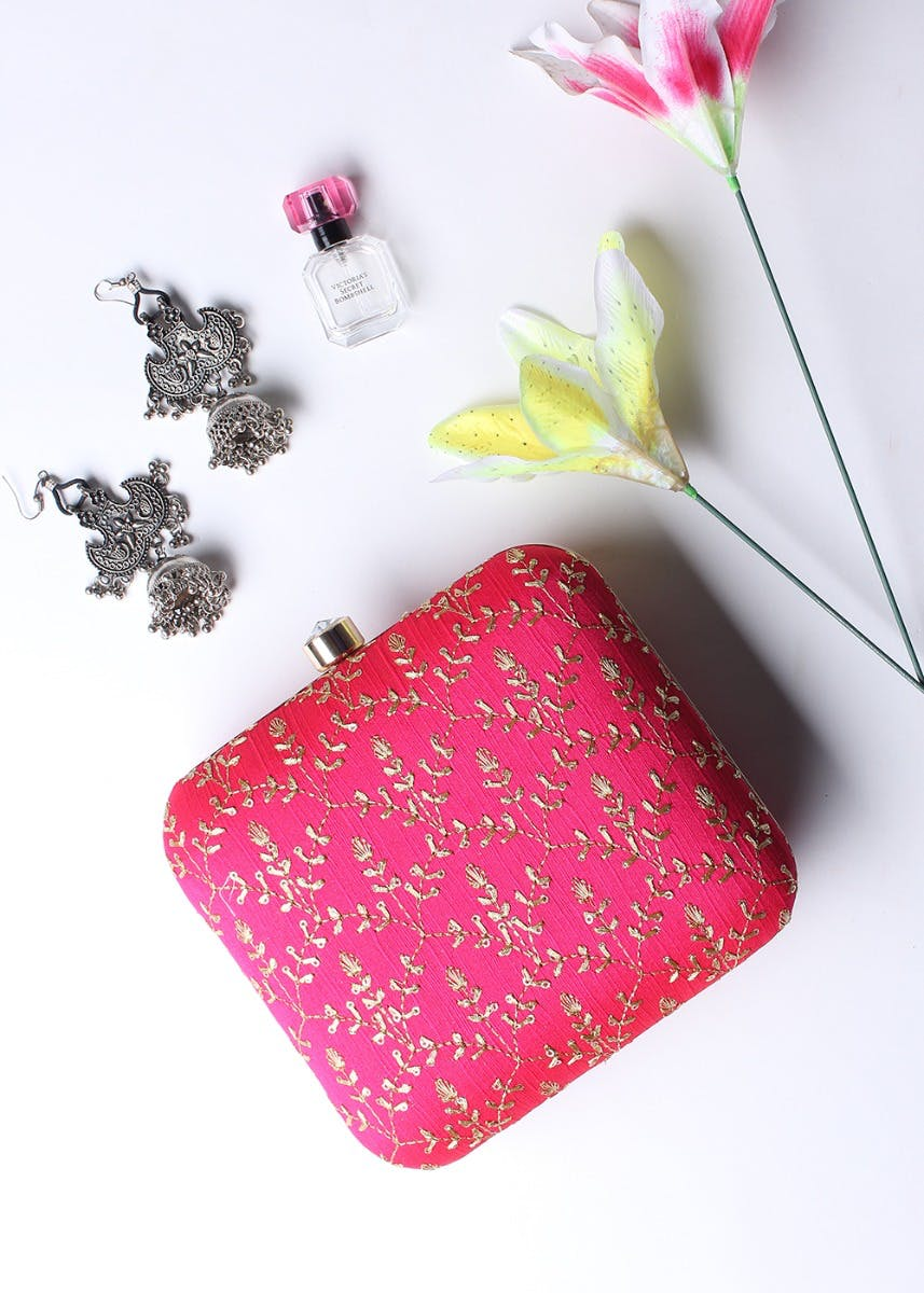 Embroidered Solid Box Clutch