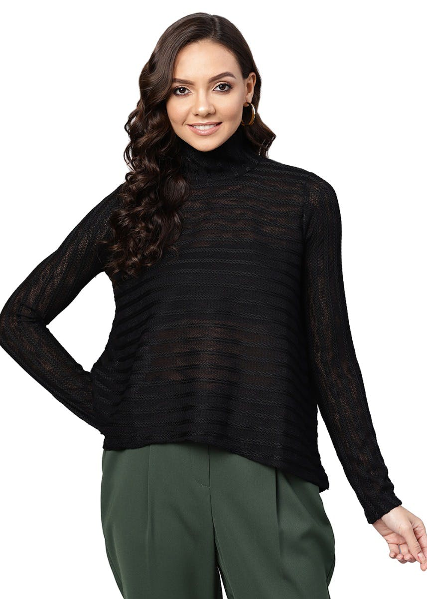 Mesh Textured Turtle Neck Ribbed Top