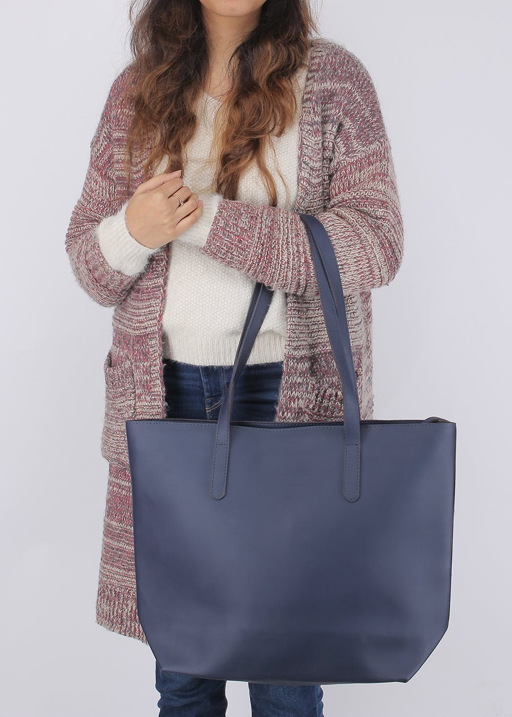 Front Pocket Detail Solid Oversized Tote
