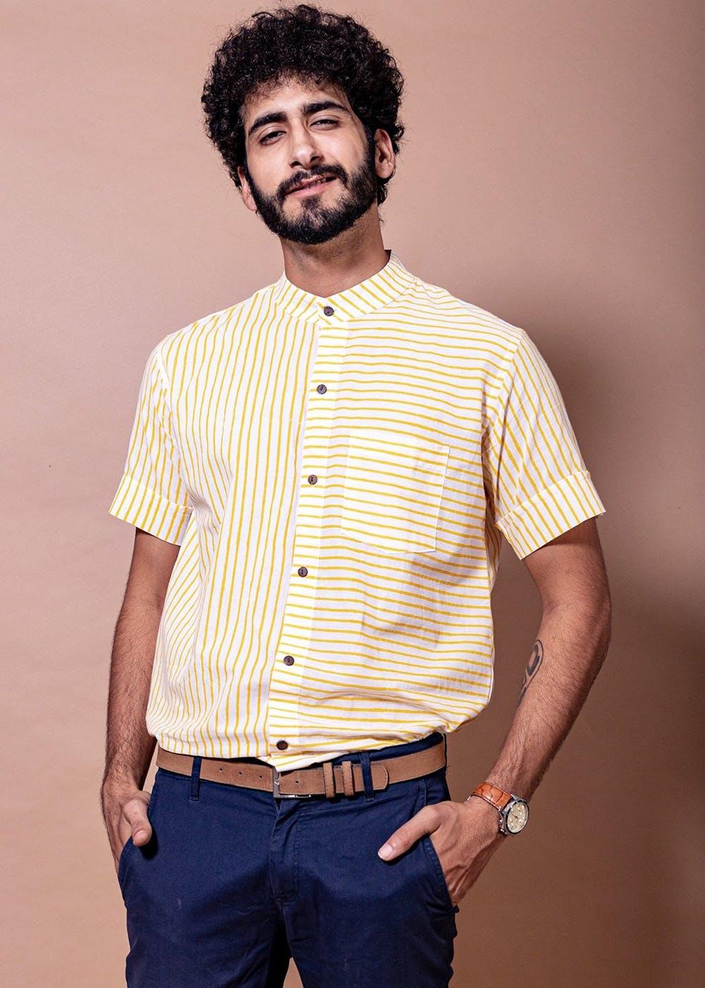 Patch Pocket Detail Striped Yellow Shirt