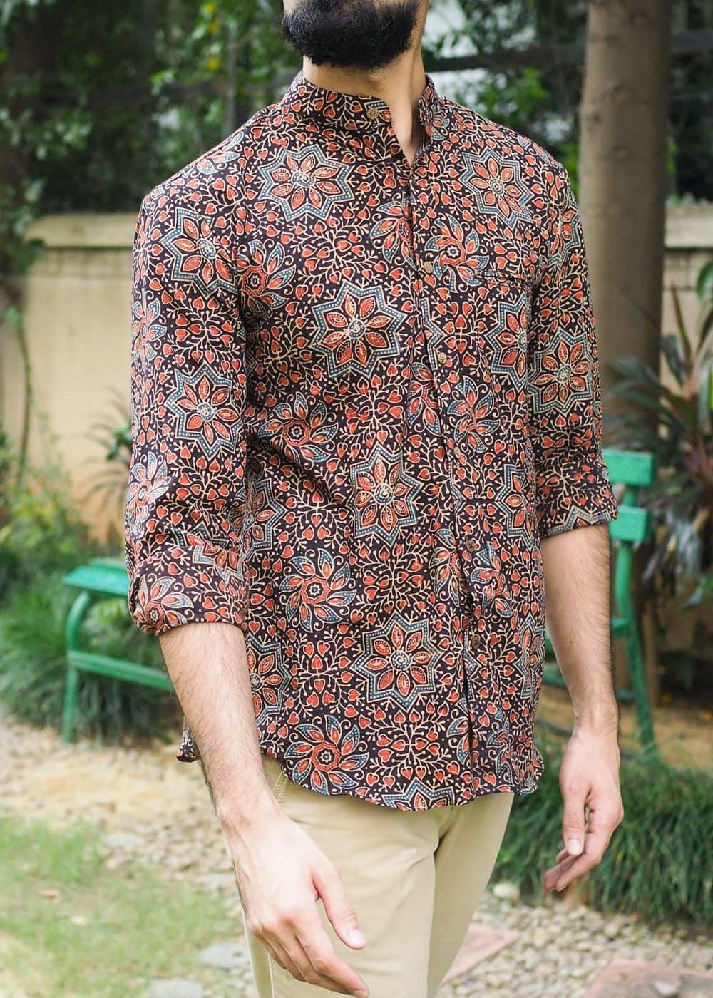 Floral Ajrakh Printed Kithiawari Shirt