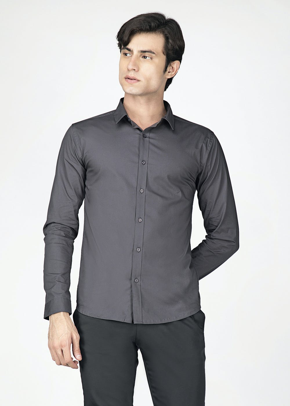 Classic Grey Muscle Fit Full Sleeves Shirt